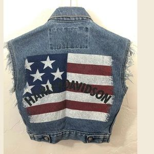 Vintage Harley Davidson American Flag Jean Vest